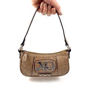 90's XOXO nude faux snakeskin mini purse